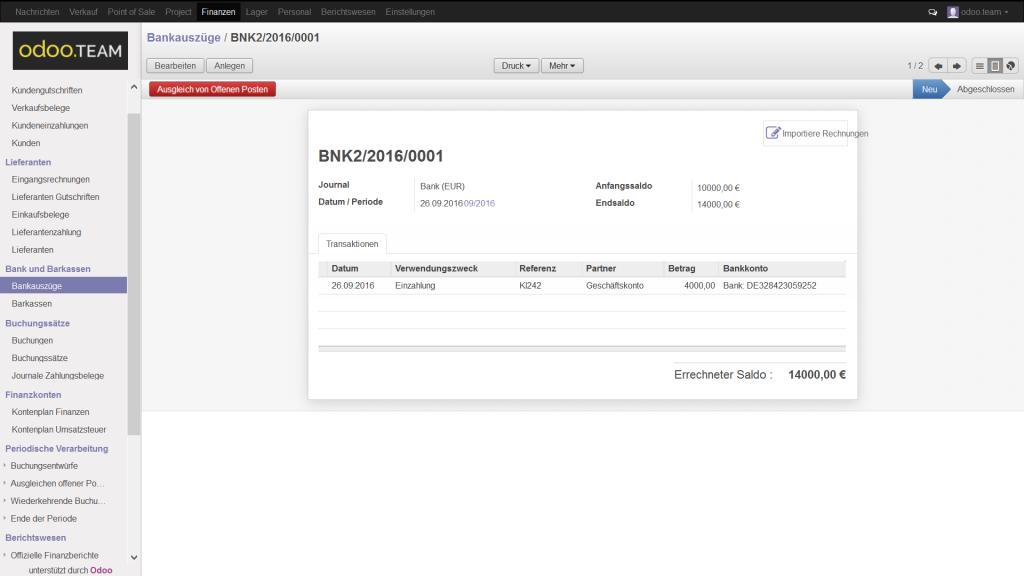 Bankauszug aus Odoo – Open Source ERP, Finanzbuchhaltung & -verwaltung