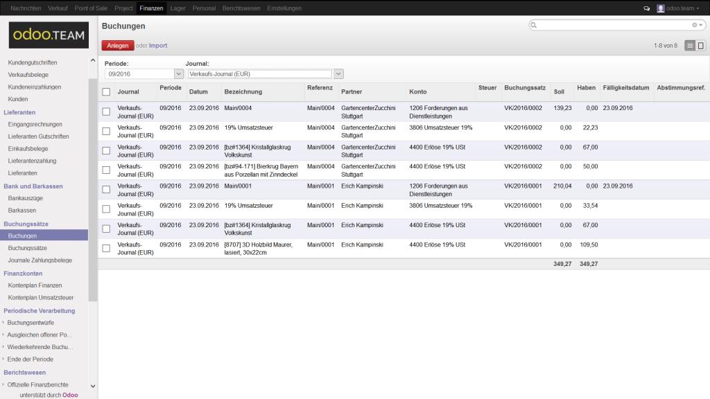 Buchungen aus Odoo – Open Source ERP, Finanzbuchhaltung & -verwaltung