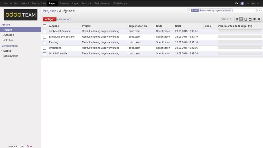 Odoo – Open Source ERP: Übersicht der Projekte als Liste
