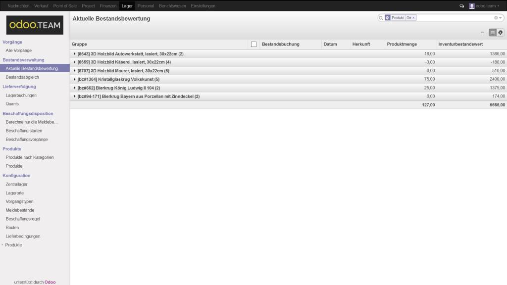 Odoo – Open Source ERP: Auflistung der Lagerartikel mit Bestandsbewertung