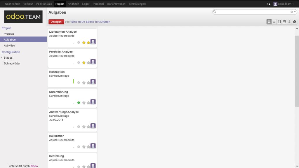 Odoo – Open Source ERP: Übersicht über alle anstehenden Aufgaben