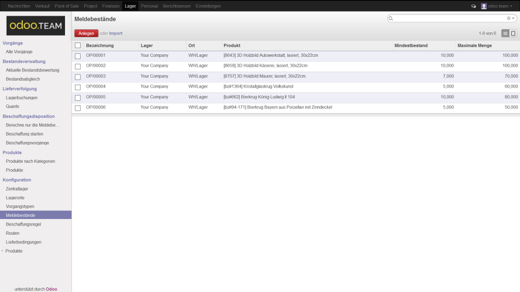 Odoo – Open Source ERP: Liste der Produkte und der dazu eingetragenen Meldebestände für die automatische Nachbestellung